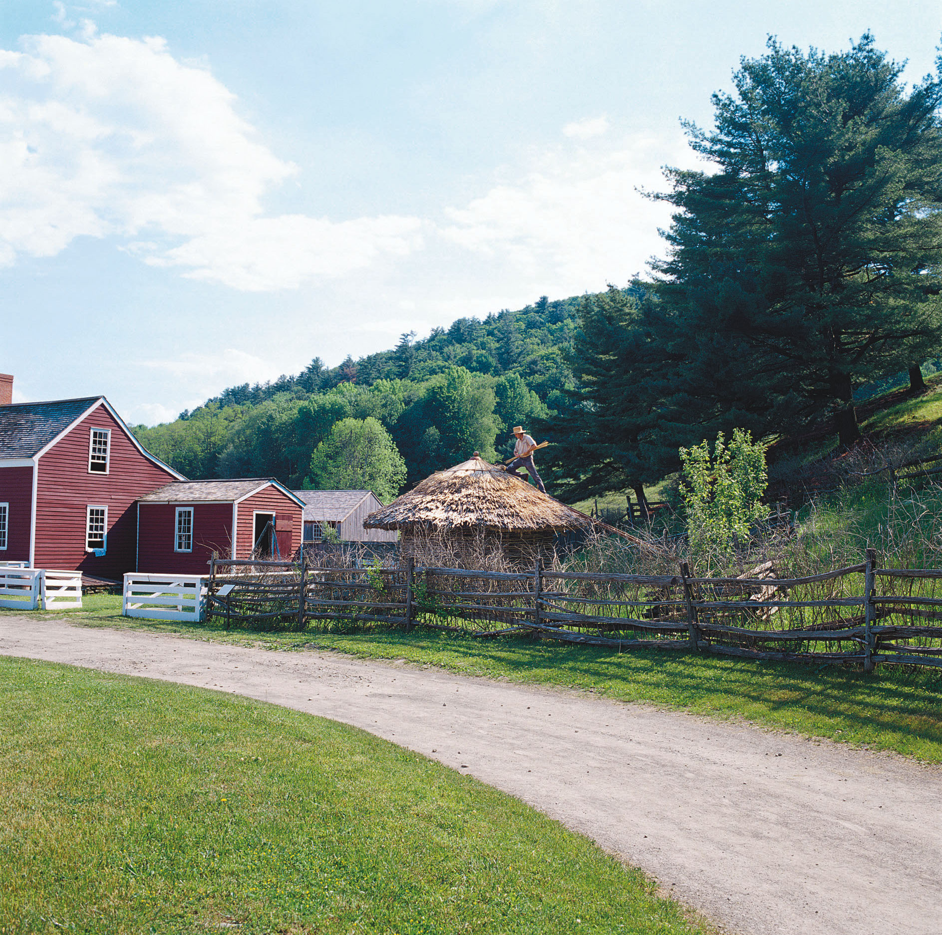 The 1790s Lippitt Farmstead  at the Farmers' Museum  has a farmhouse and  a collection of outbuildings.