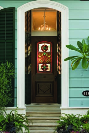 stained glass door in creole cottage
