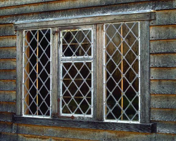 Maurer and Shepherd Joyners makes historically accurate windows, such as this seventeenth-century lattice window with diamond panes.