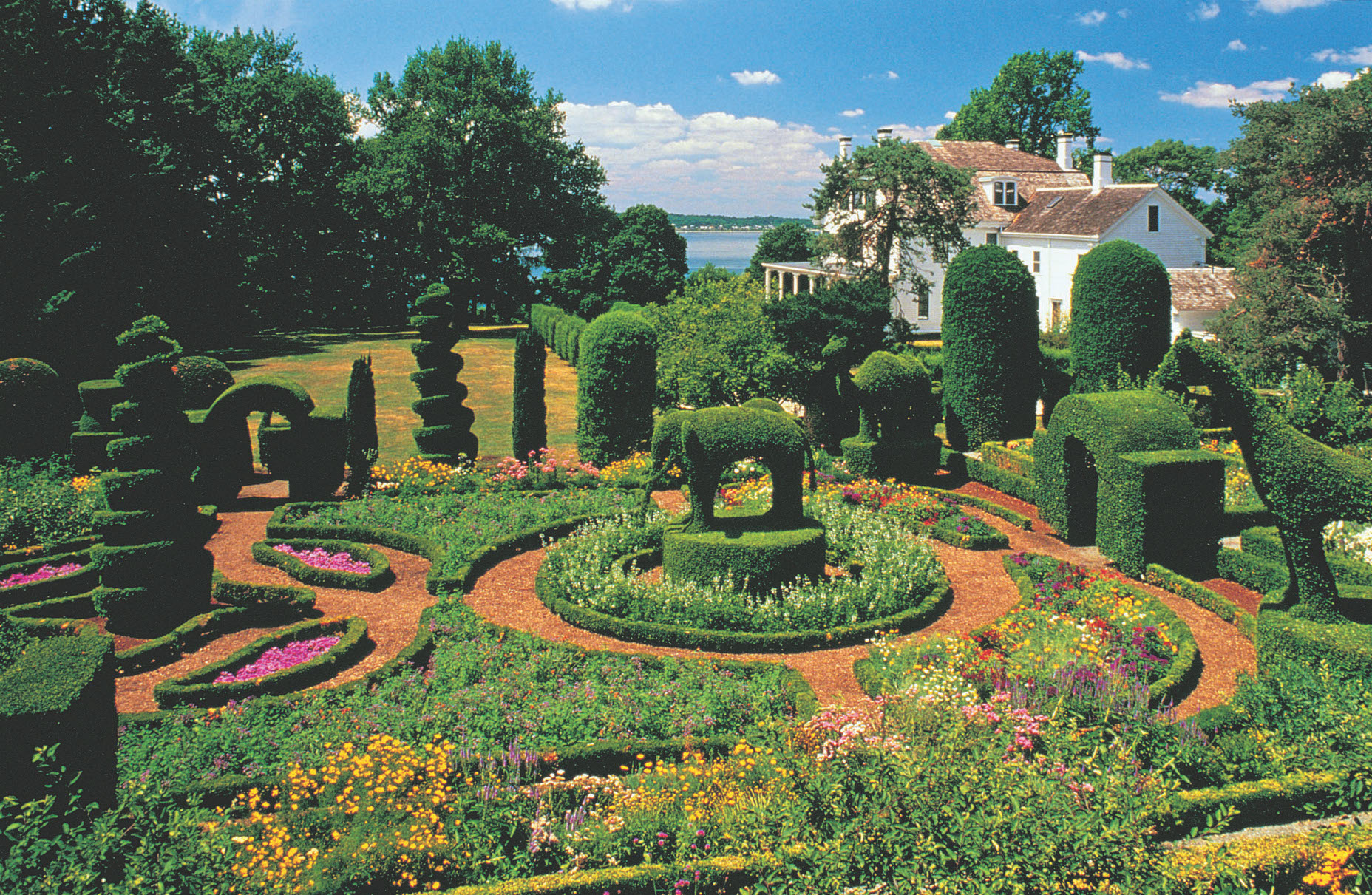 Green Animals in Rhode Island has an enviable location; its historic topiary has been restored.