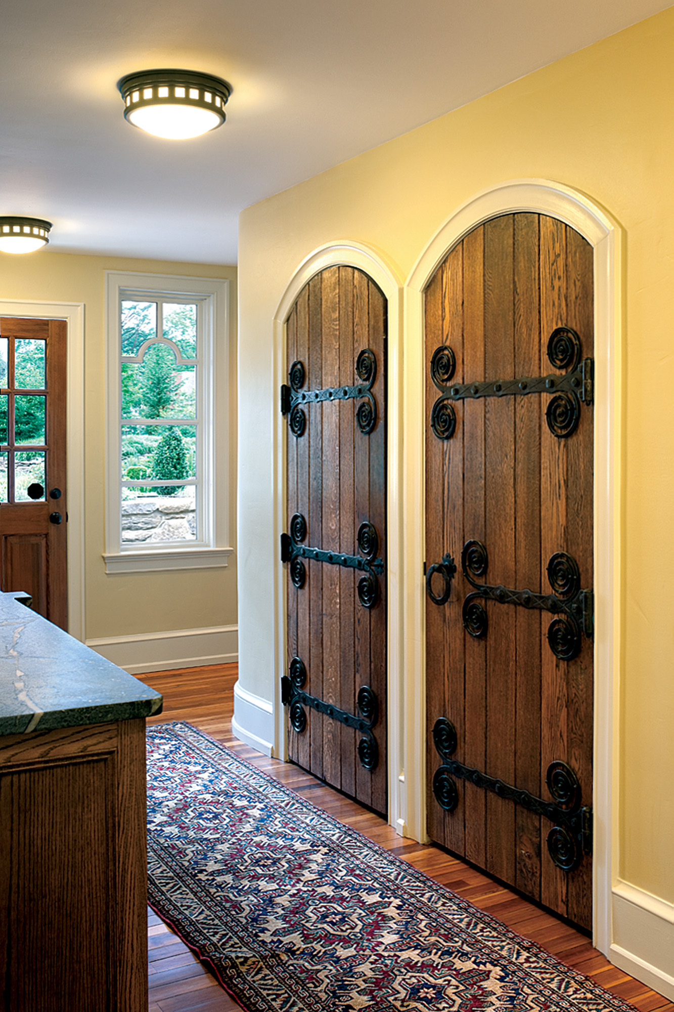 twin radius-topped doors
