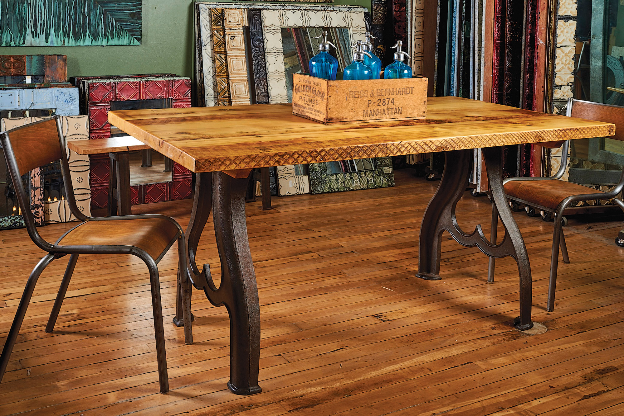 Both the industrial iron bases and the wood tabletop are salvaged materials  that found new life. Reclaimed Wood Tables   Old House Restoration  Products   Decorating