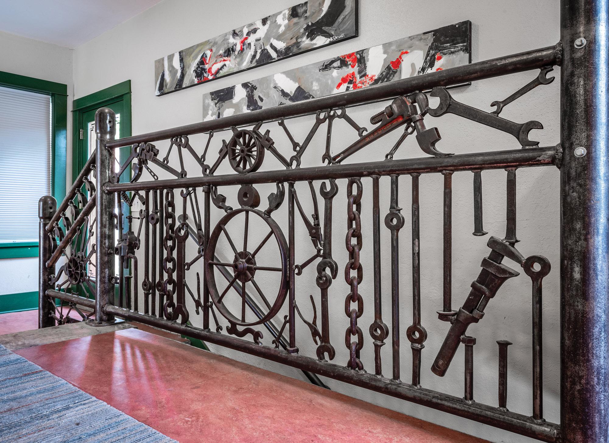 A Unique Stair Railing Made of Repurposed Materials