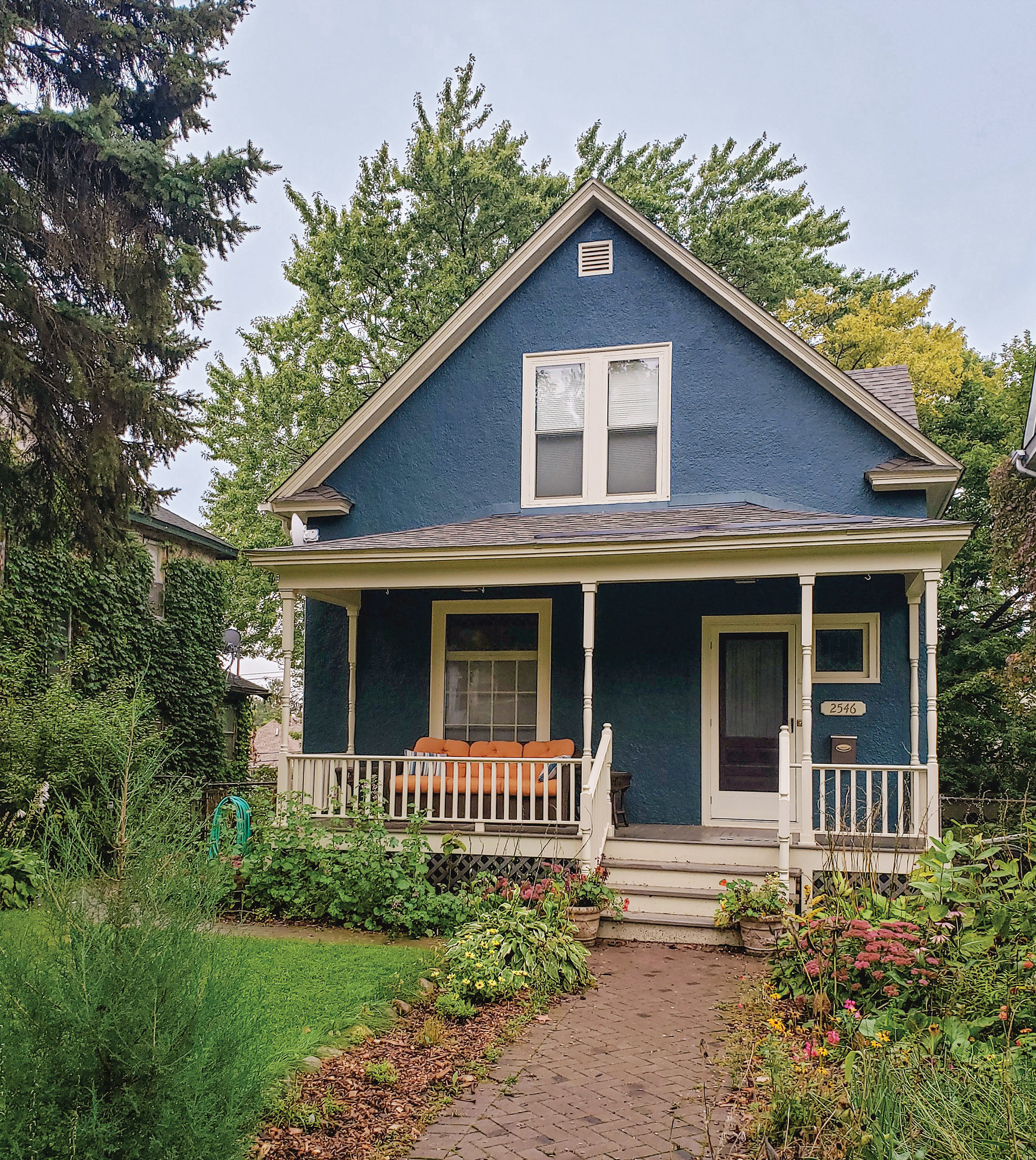 blue house with porch