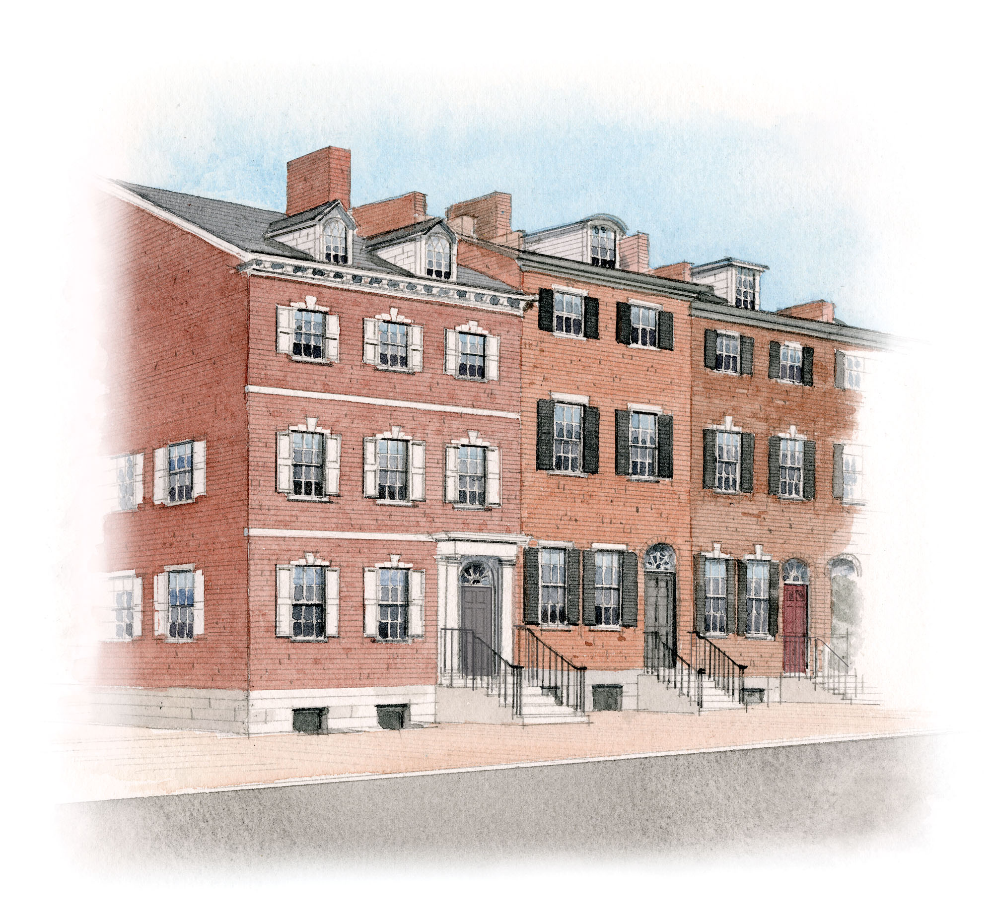 BRICK FEDERAL ROW HOUSES, 1810s