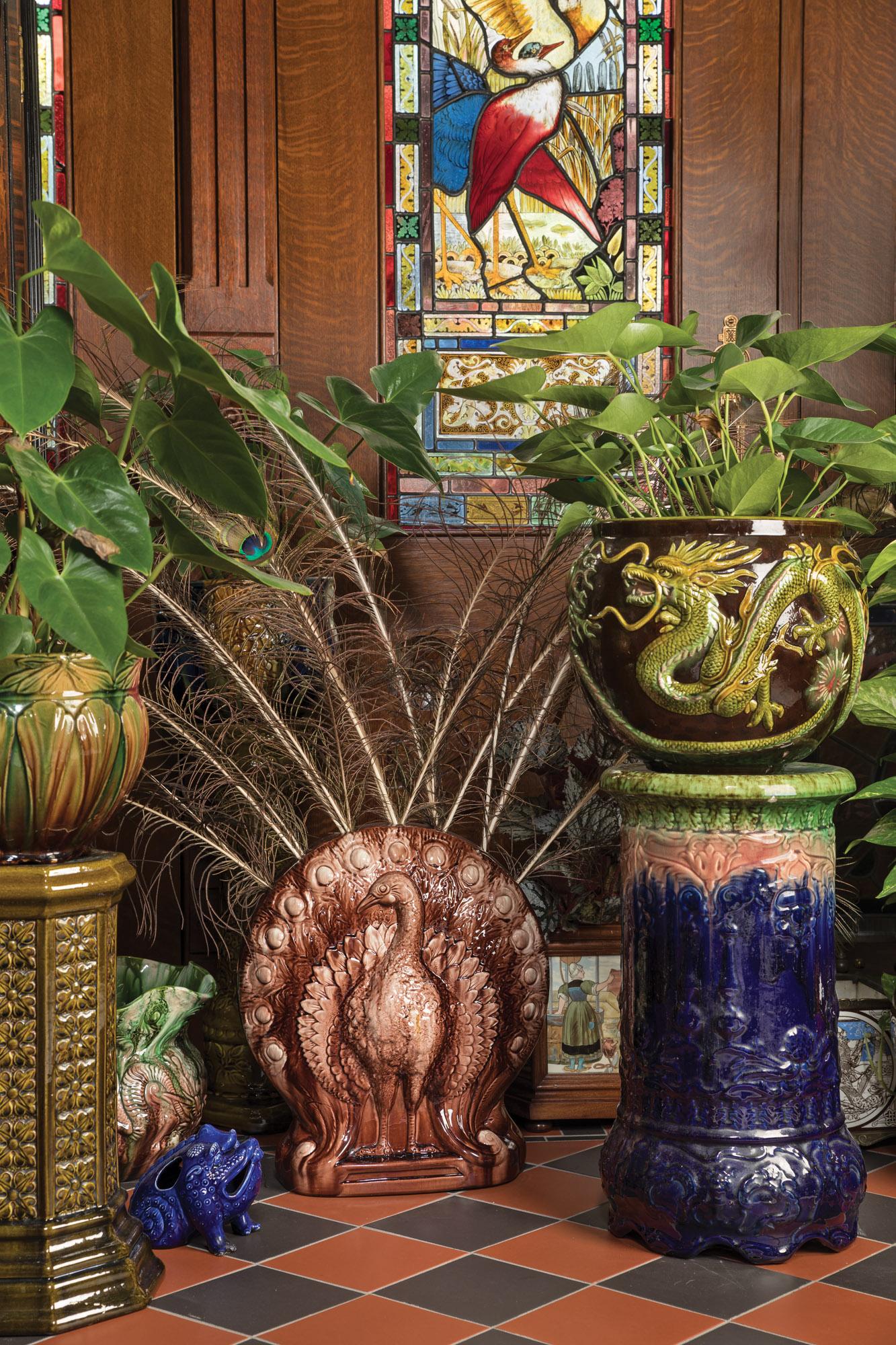 antique feather vase