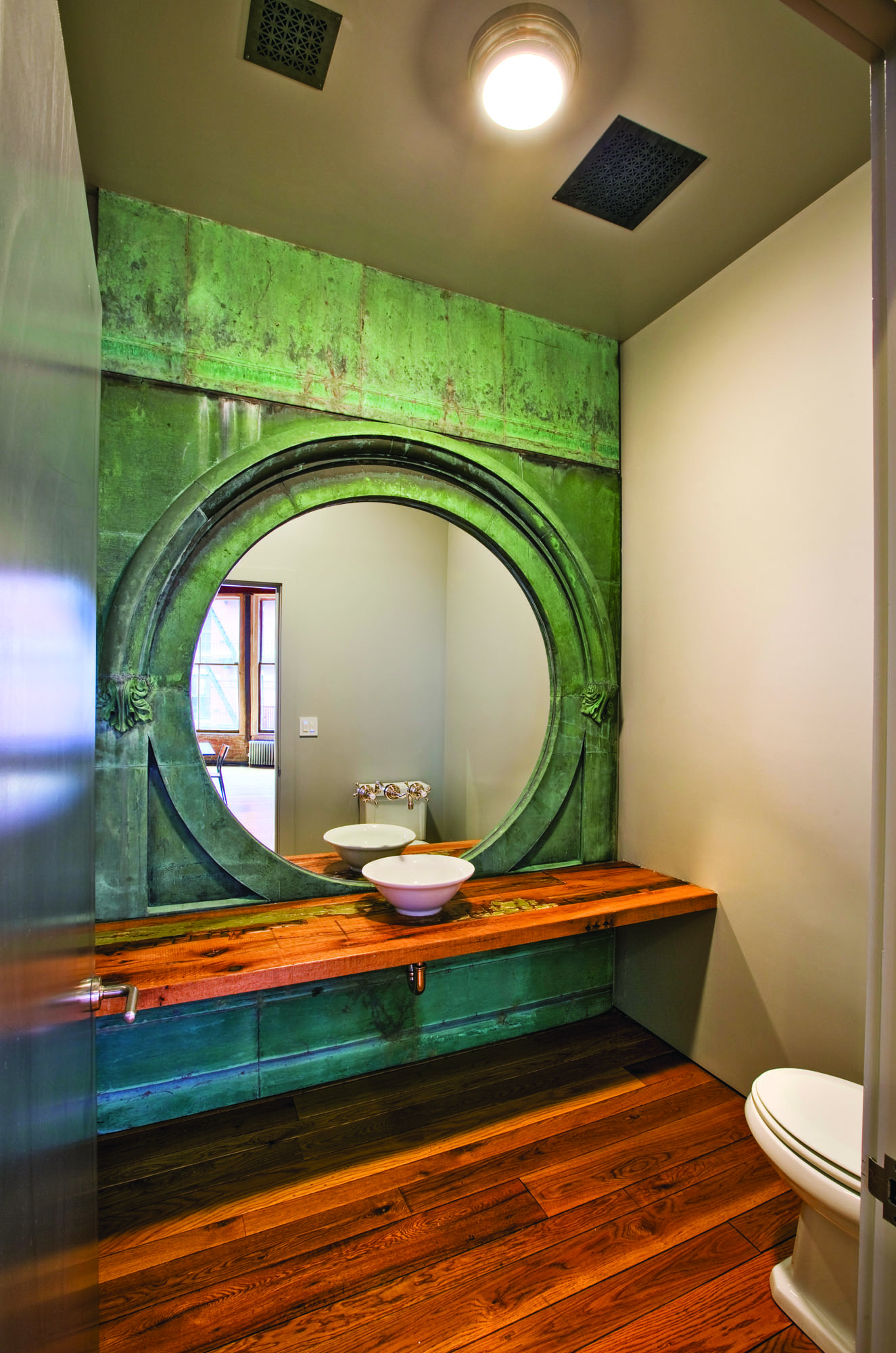copper window vanity