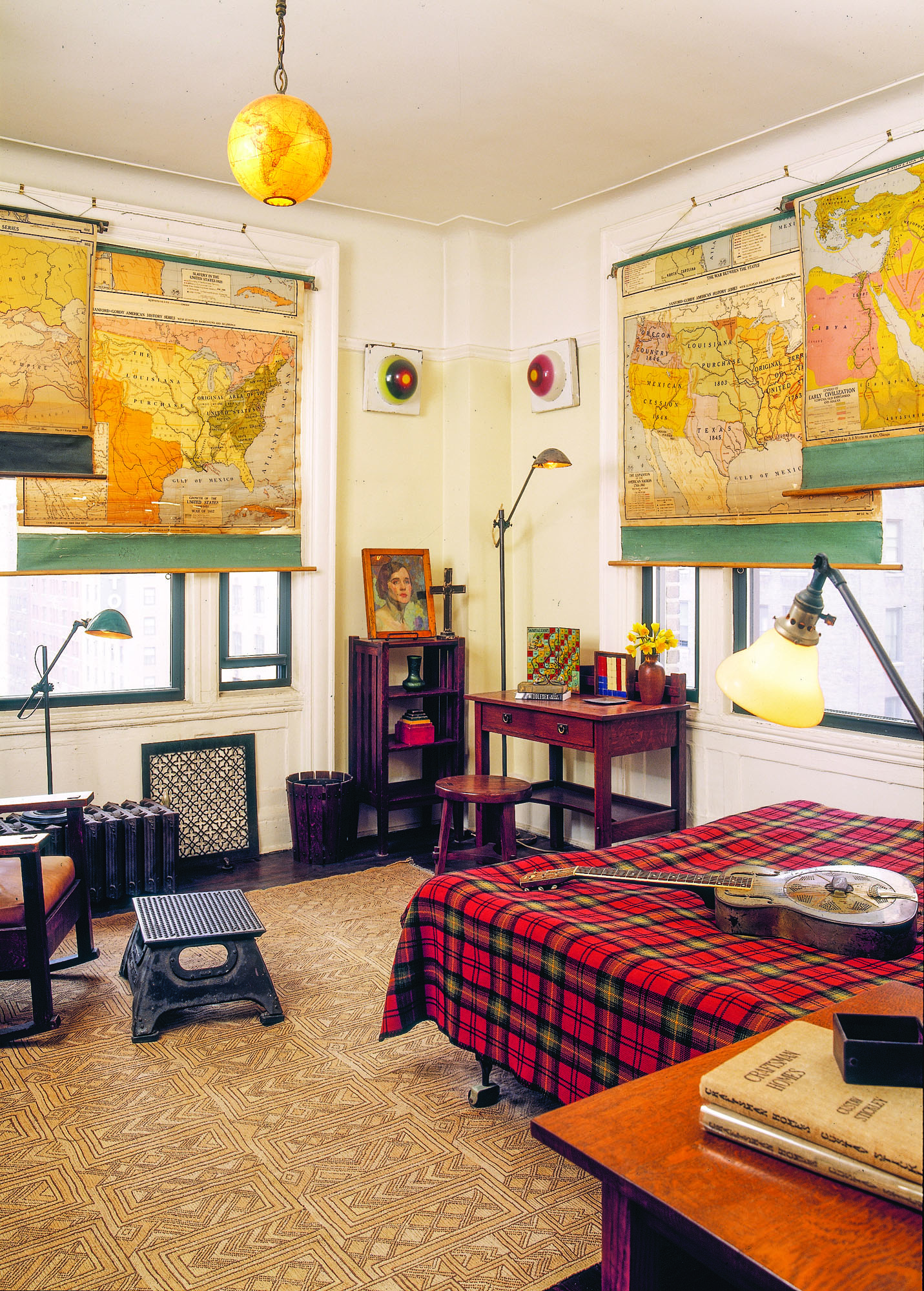 vintage map window shade