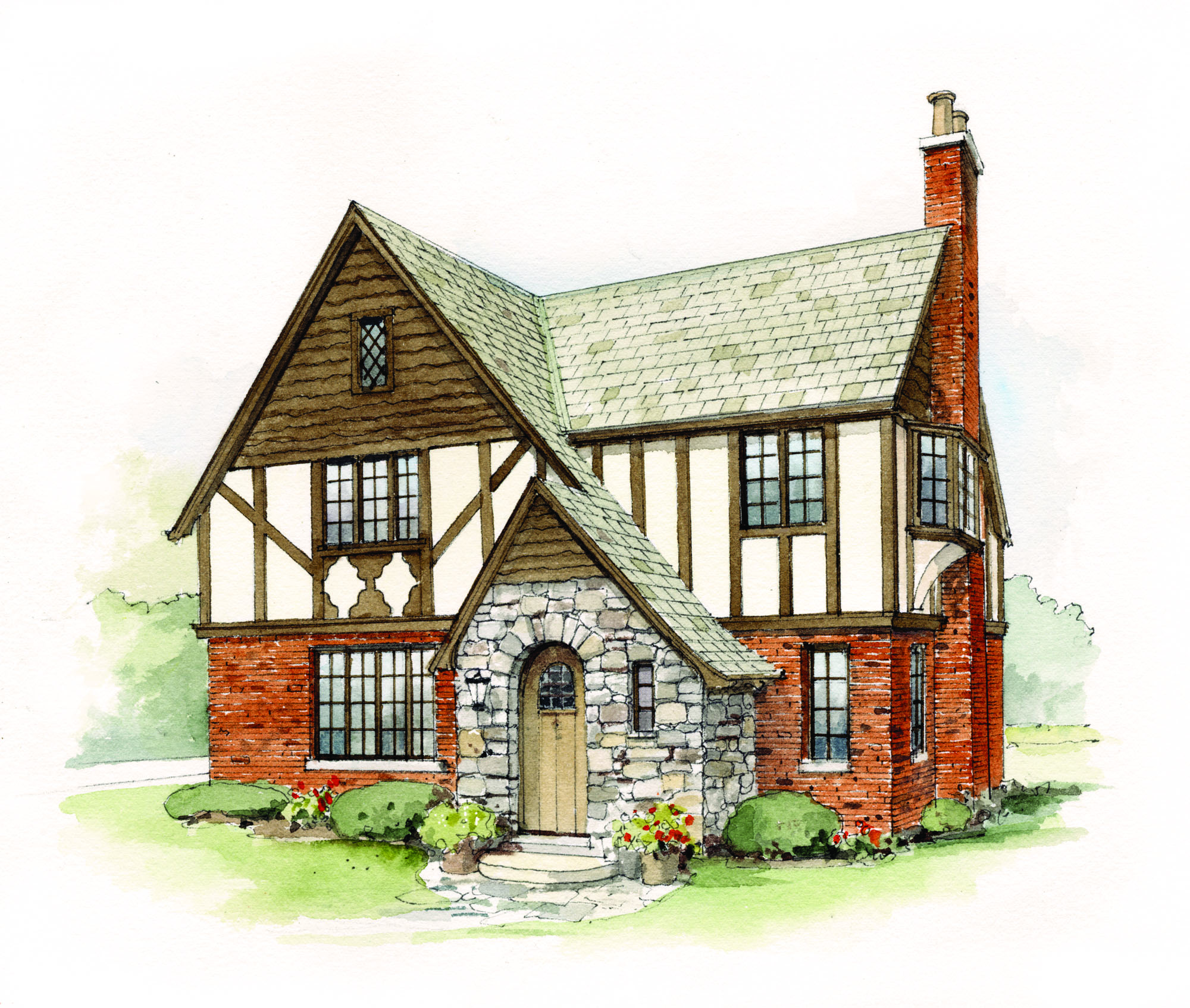A suburban Tudor of brick, stucco, and slate has many of the style's hallmarks: steep roof, storybook entry, a picturesque chimney, casement windows and an oriel (on the side), and decorative half-timbering.