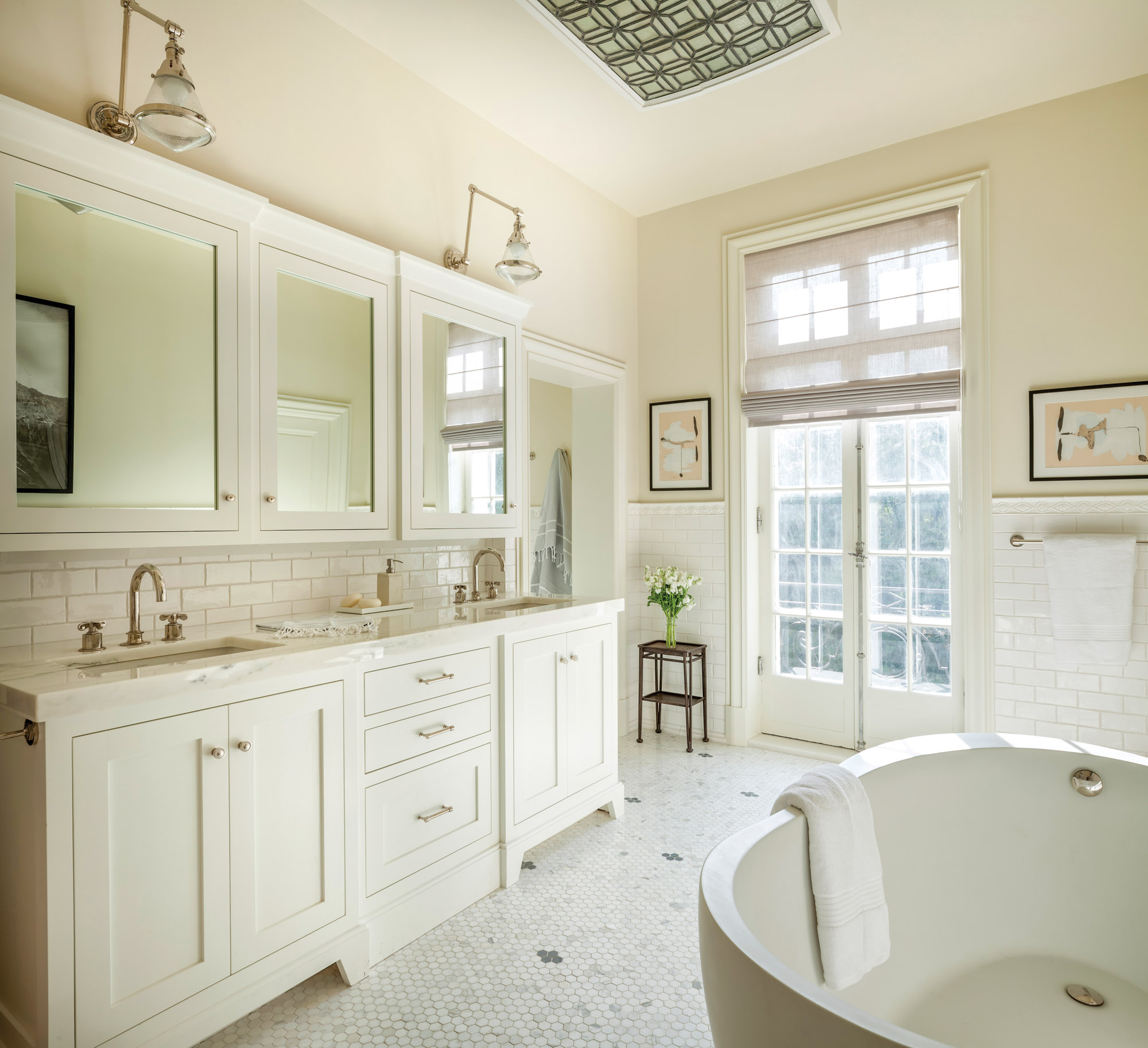 white bathroom with subway tile