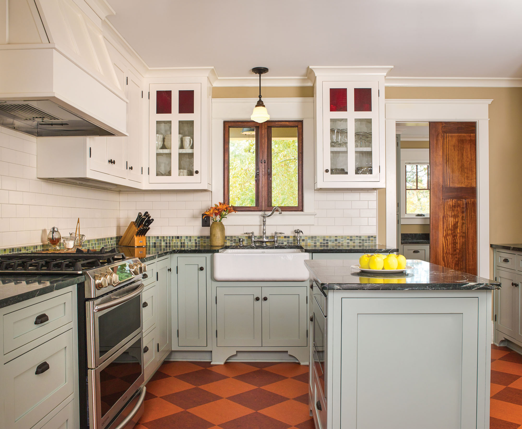 soapstone countertops, Marmoleum flooring, Craftsman kitchen