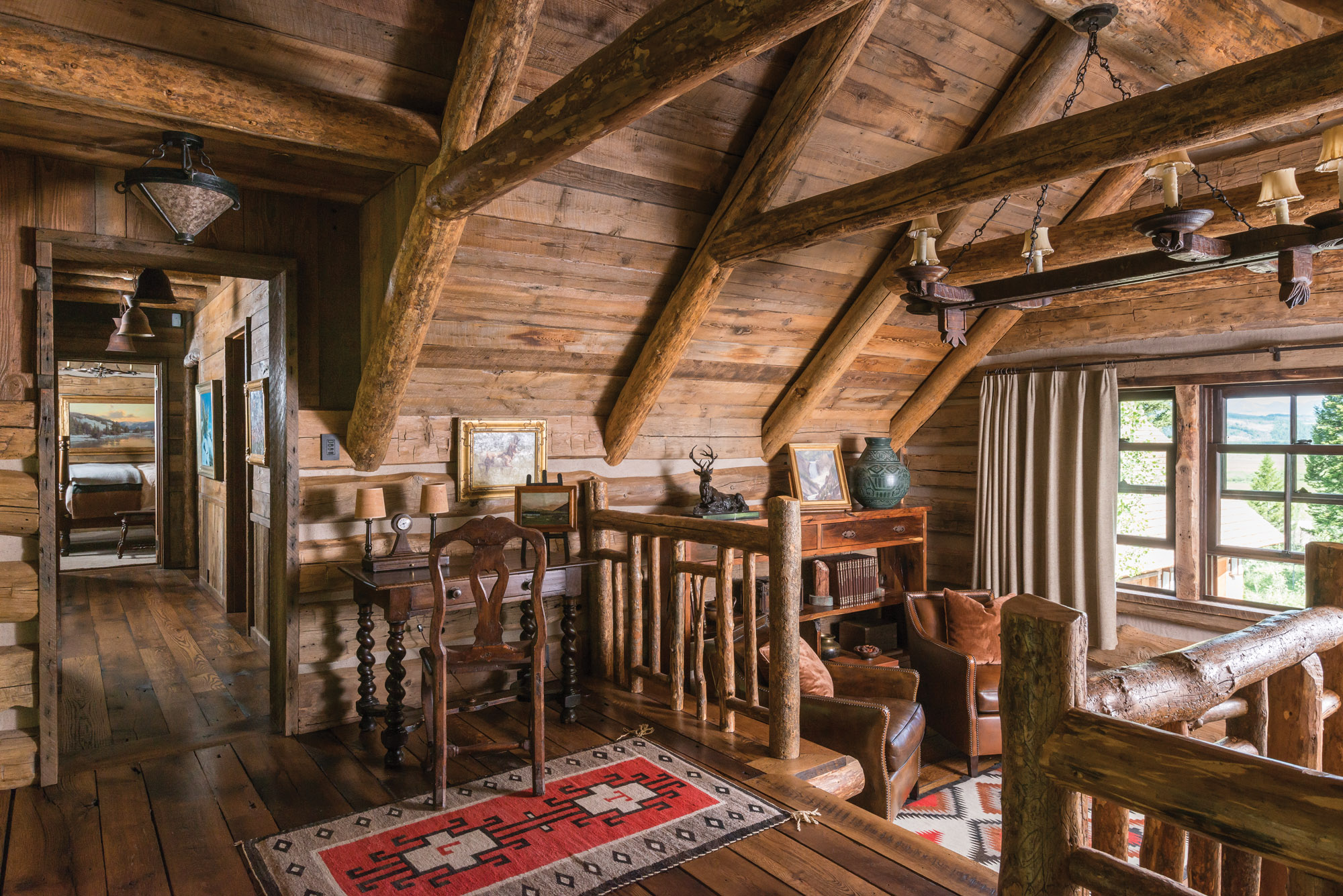 antique furnishings in log cabin