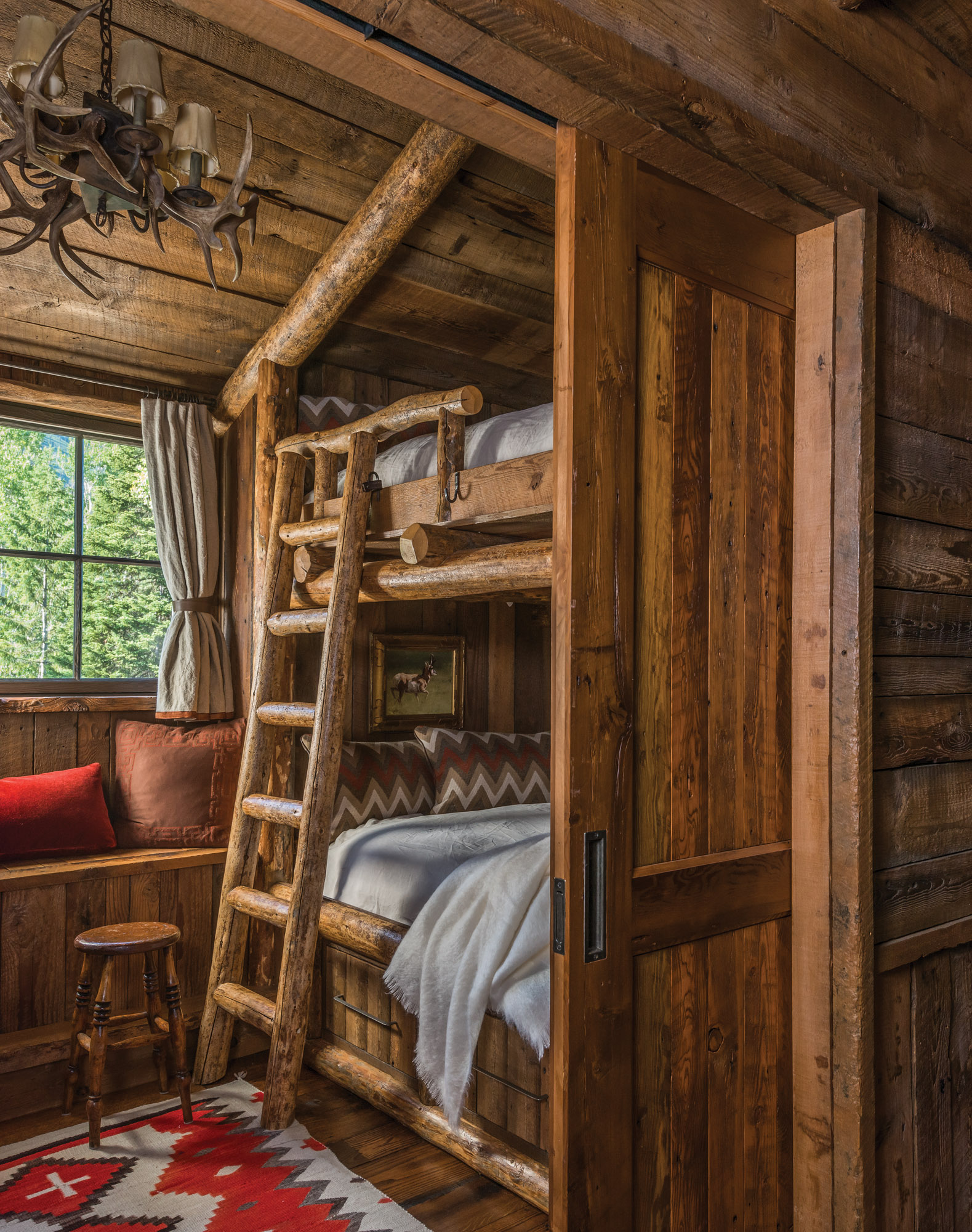 log ladder bunk bed