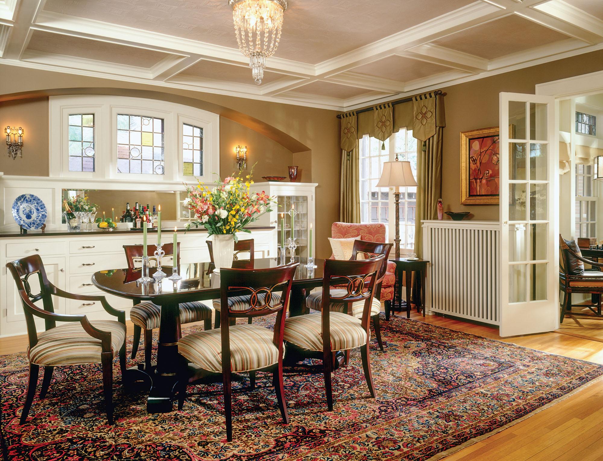 built-in buffet, Tudor Revival dining room