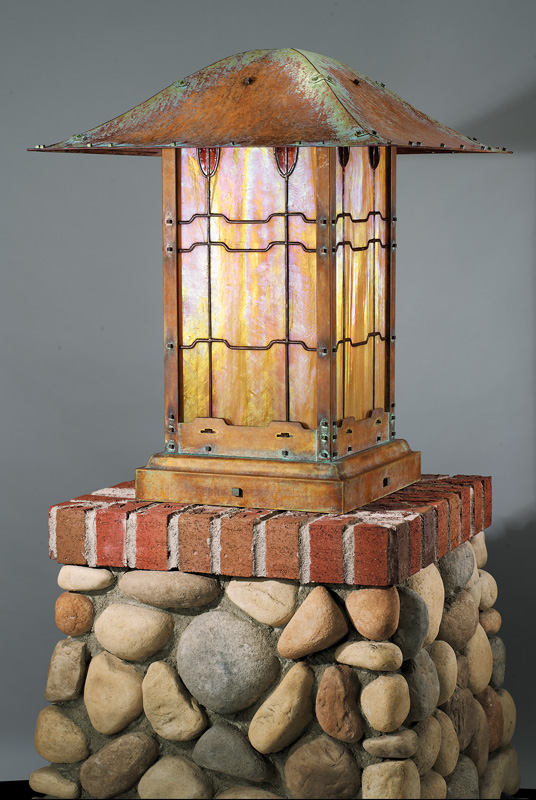 1908 Gamble House post lantern reproduced.
