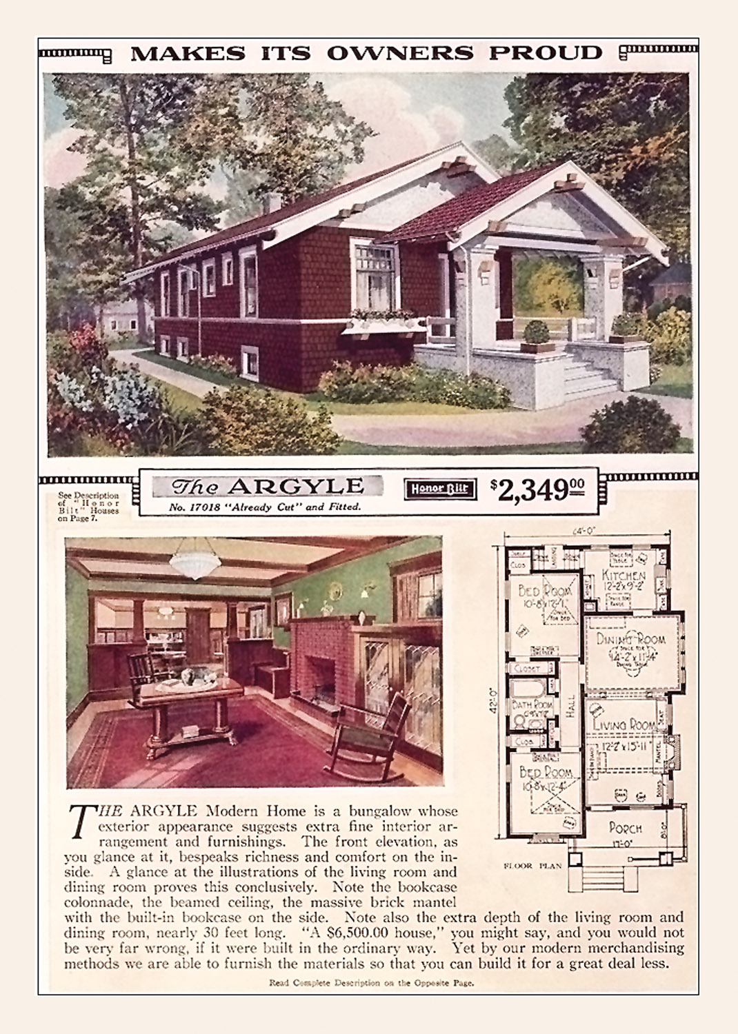 The 'Argyle' plan in 1923, with its floor plan and an interior rendering.
