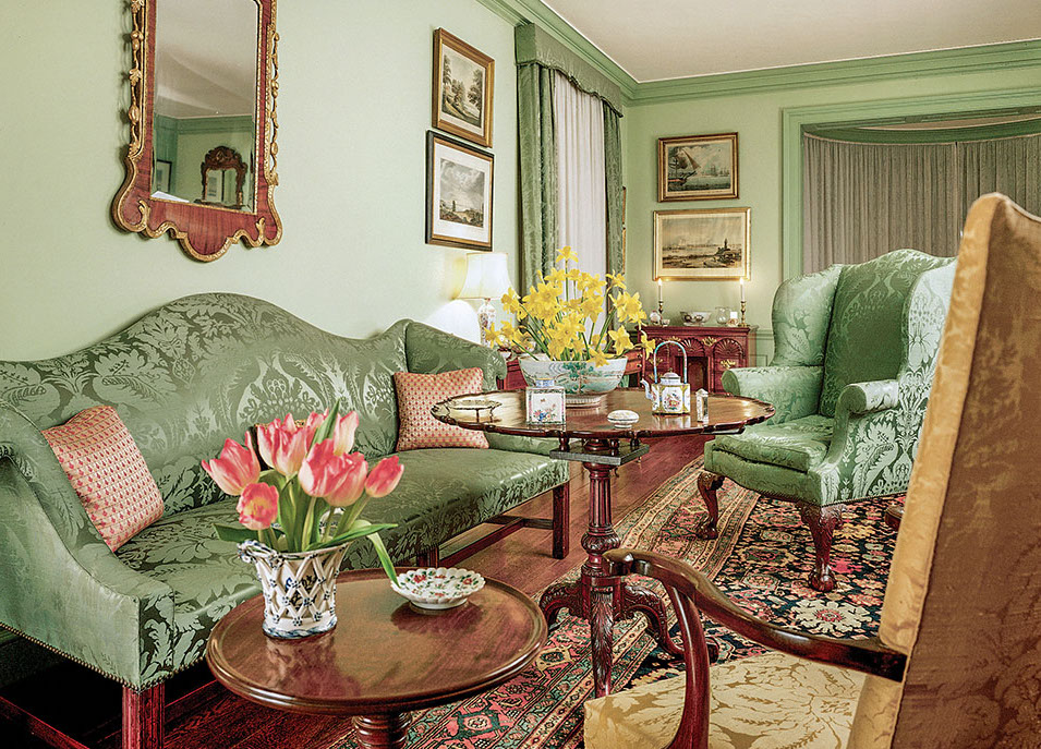A piecrust tea table made in 1769 is surrounded by other period furnishings at the Chipstone Foundation in Milwaukee. (Photo credit: Paul Rocheleau)