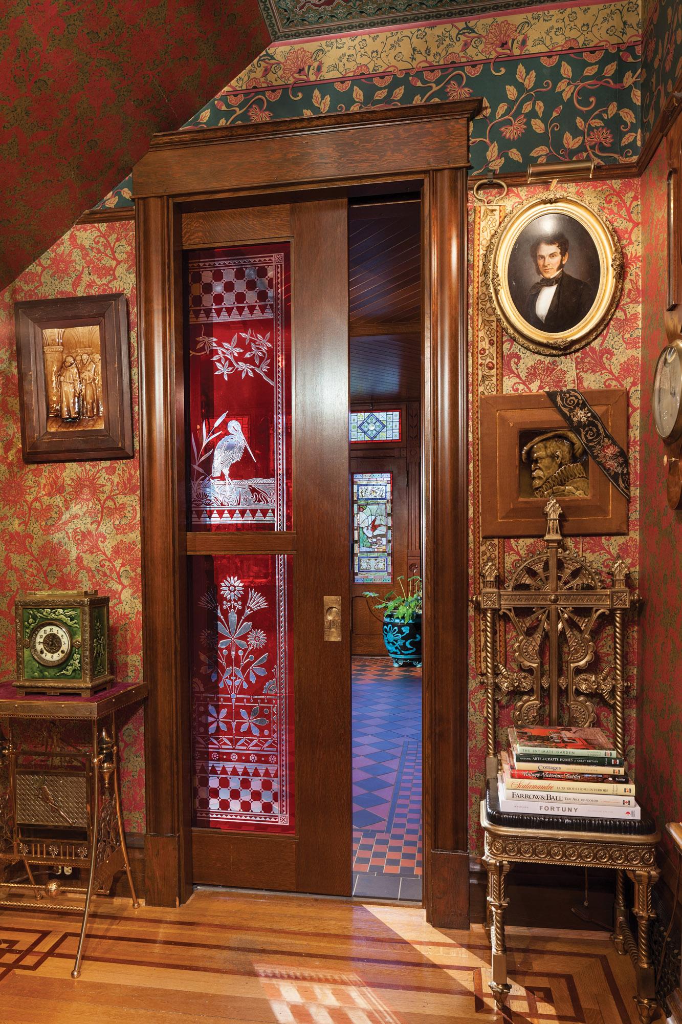 pocket door with art glass, Victorian polychromy