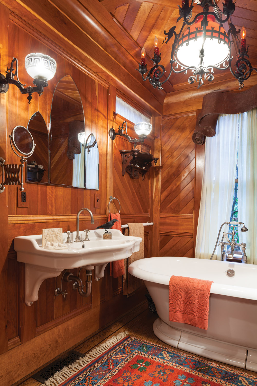 master bath with cherry paneling