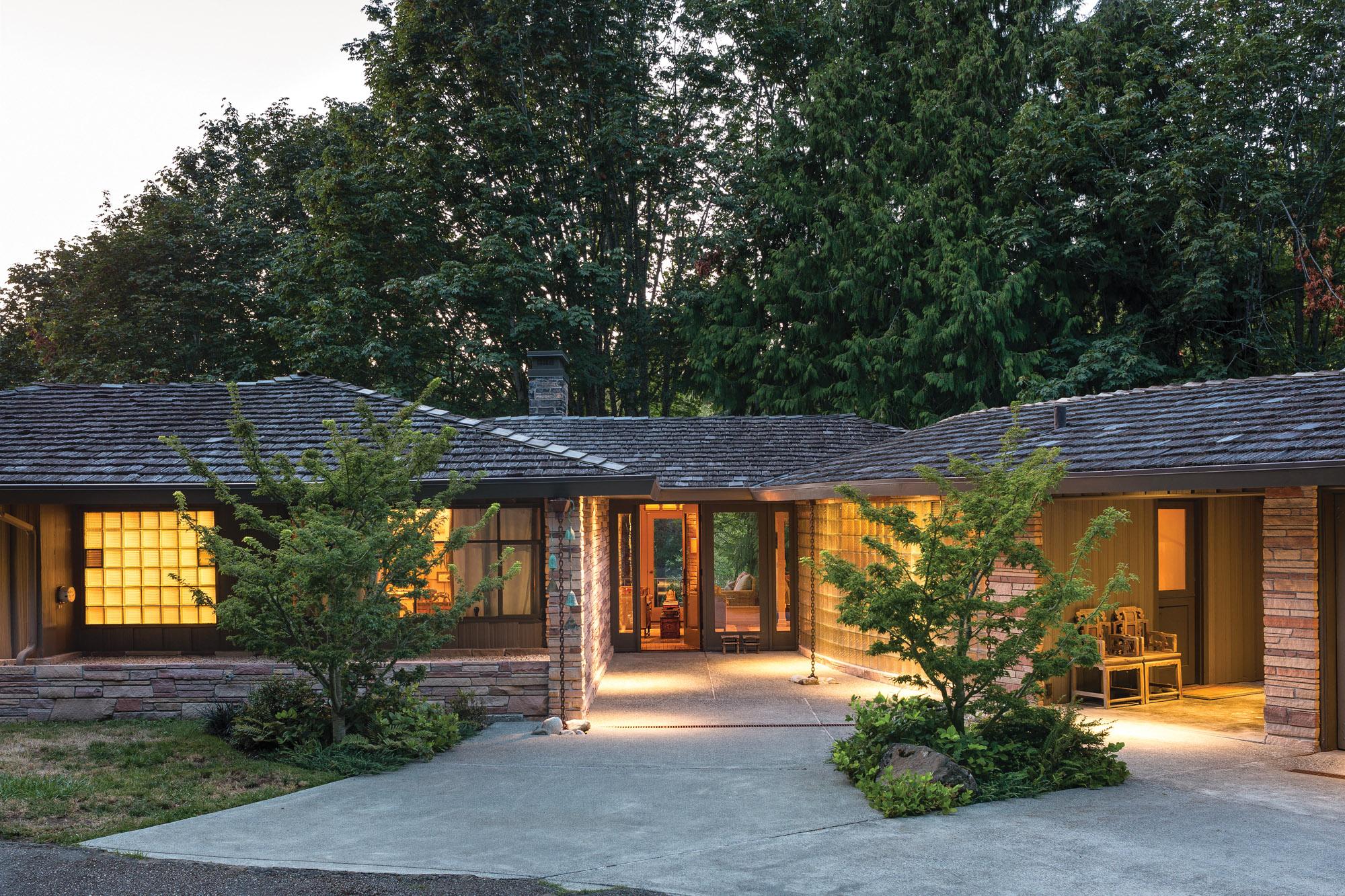 modern stone glass house
