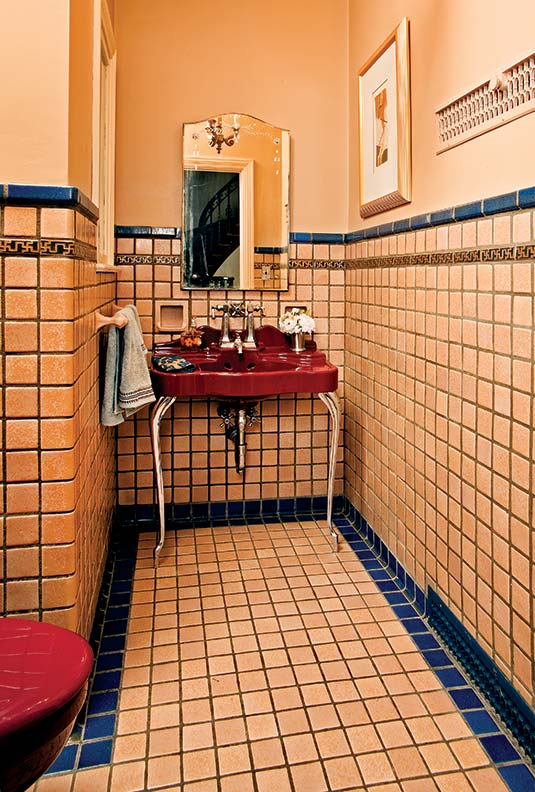 historic bathroom tile in 1930 Mediterranean Revival house