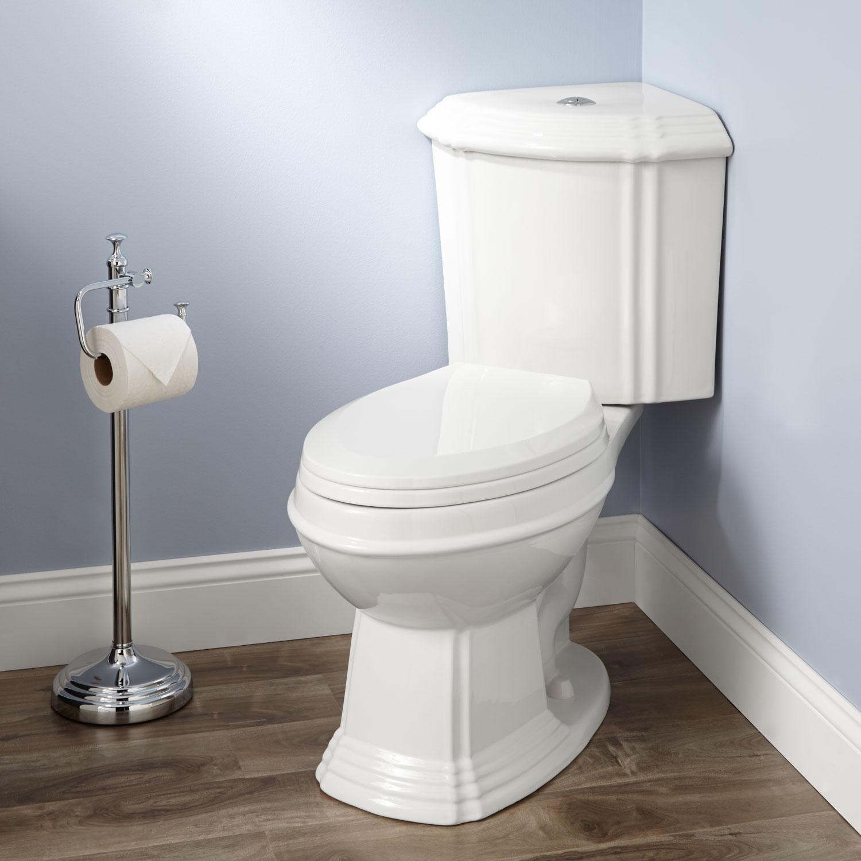 Dual flush elongated corner toilet