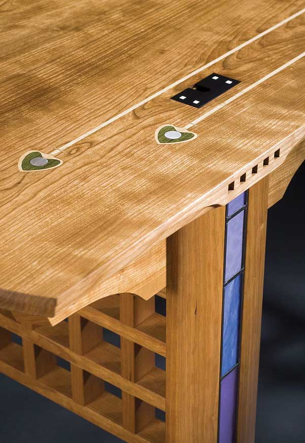 Detail of the cherry 'Glasgow' desk by Kevin Rodel, who sometimes channels Scots designer C.R. Mackintosh.