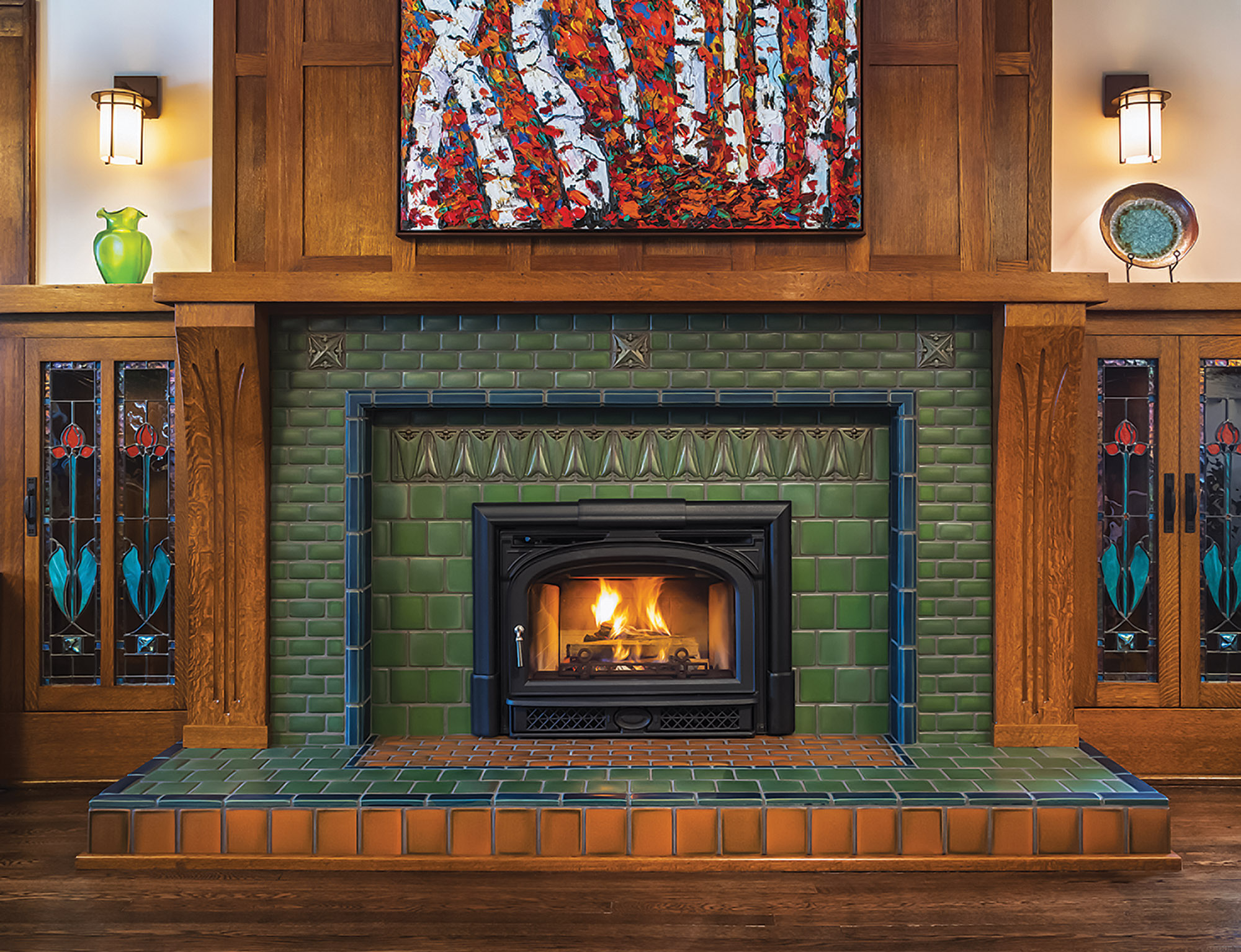 Motawi tile fireplace