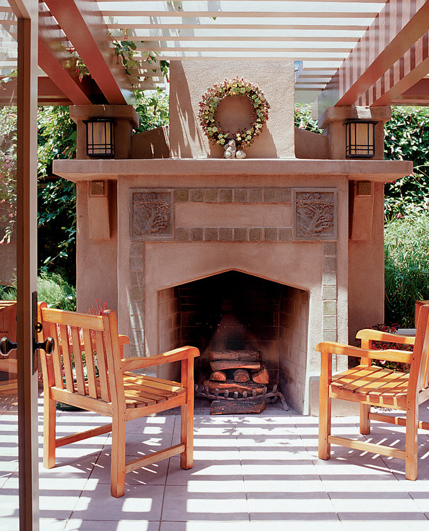Batchelder-style fireplace