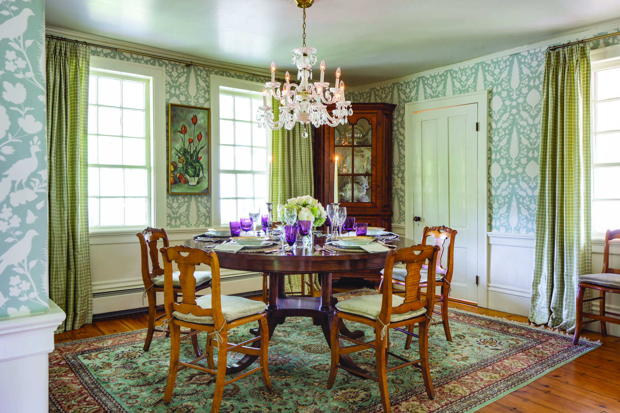 The silk rug and then the wallpaper were chosen for the dining room, a new classic in what was once the farmhouse keeping room.