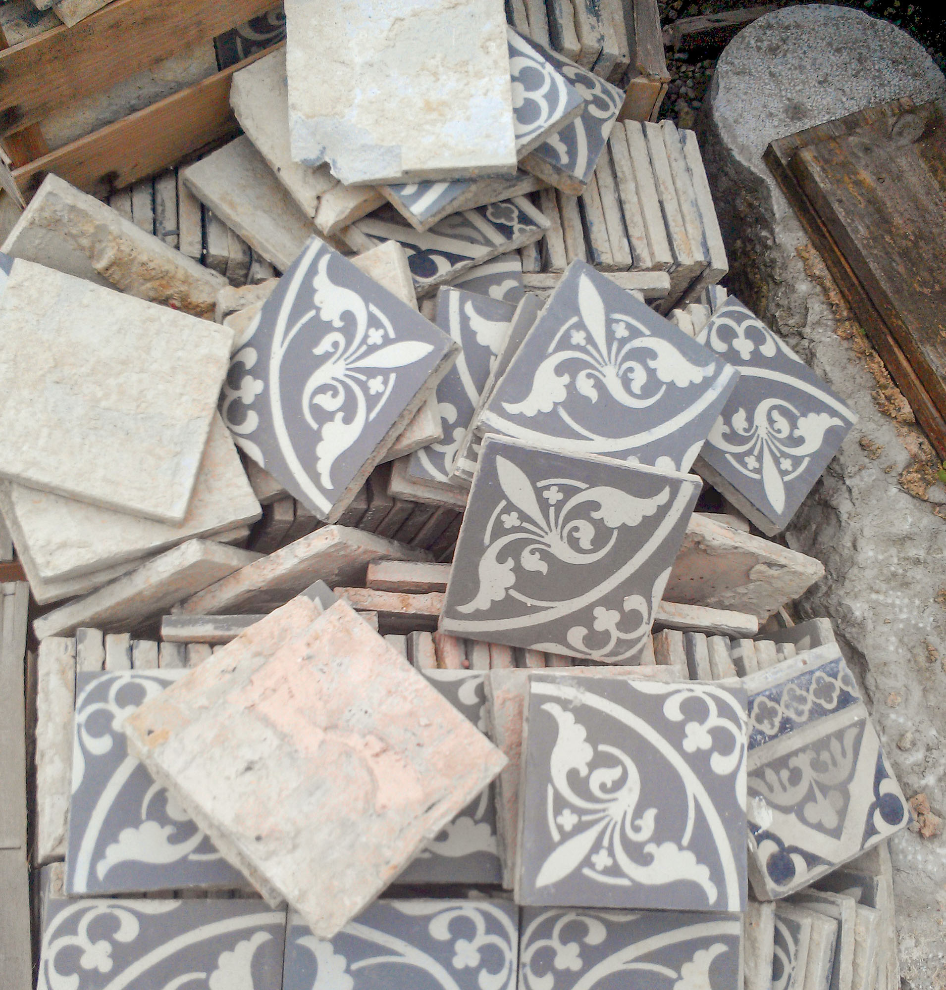 Reclaimed Victorian-era encaustic tiles await a new purpose.