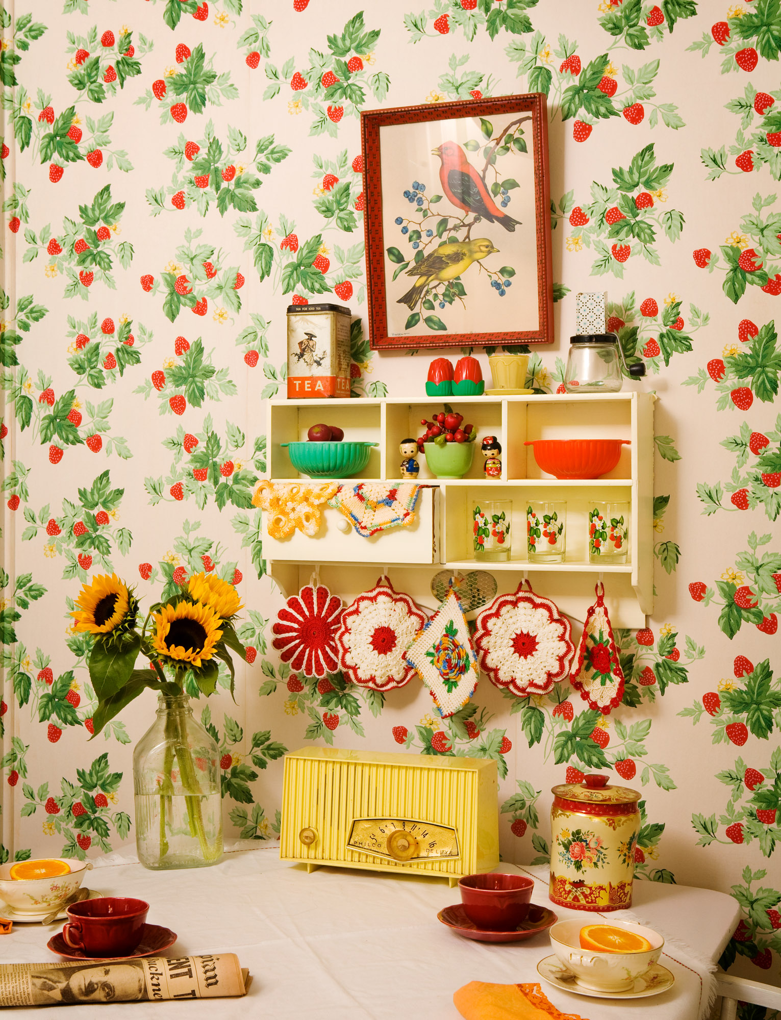 2.Wallpaper in the house is vintage, too: unused period stock purchased from Hannah's Treasures in Iowa.