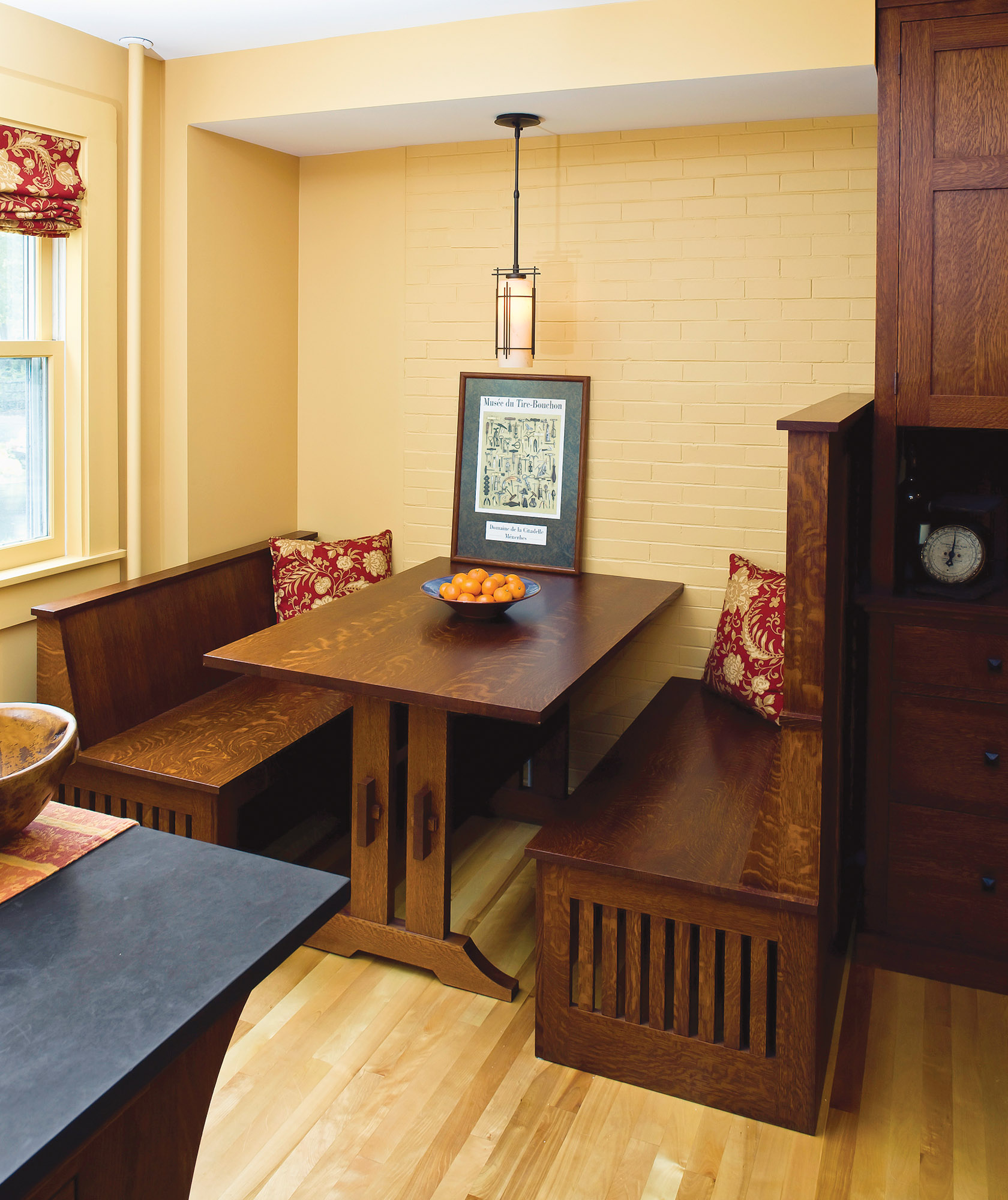 Arts & Crafts Revival breakfast nook by the Kennebec Company