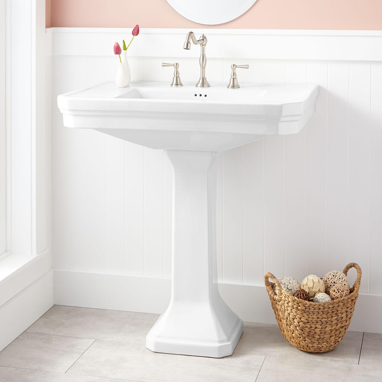 Kacy pedestal sink in white