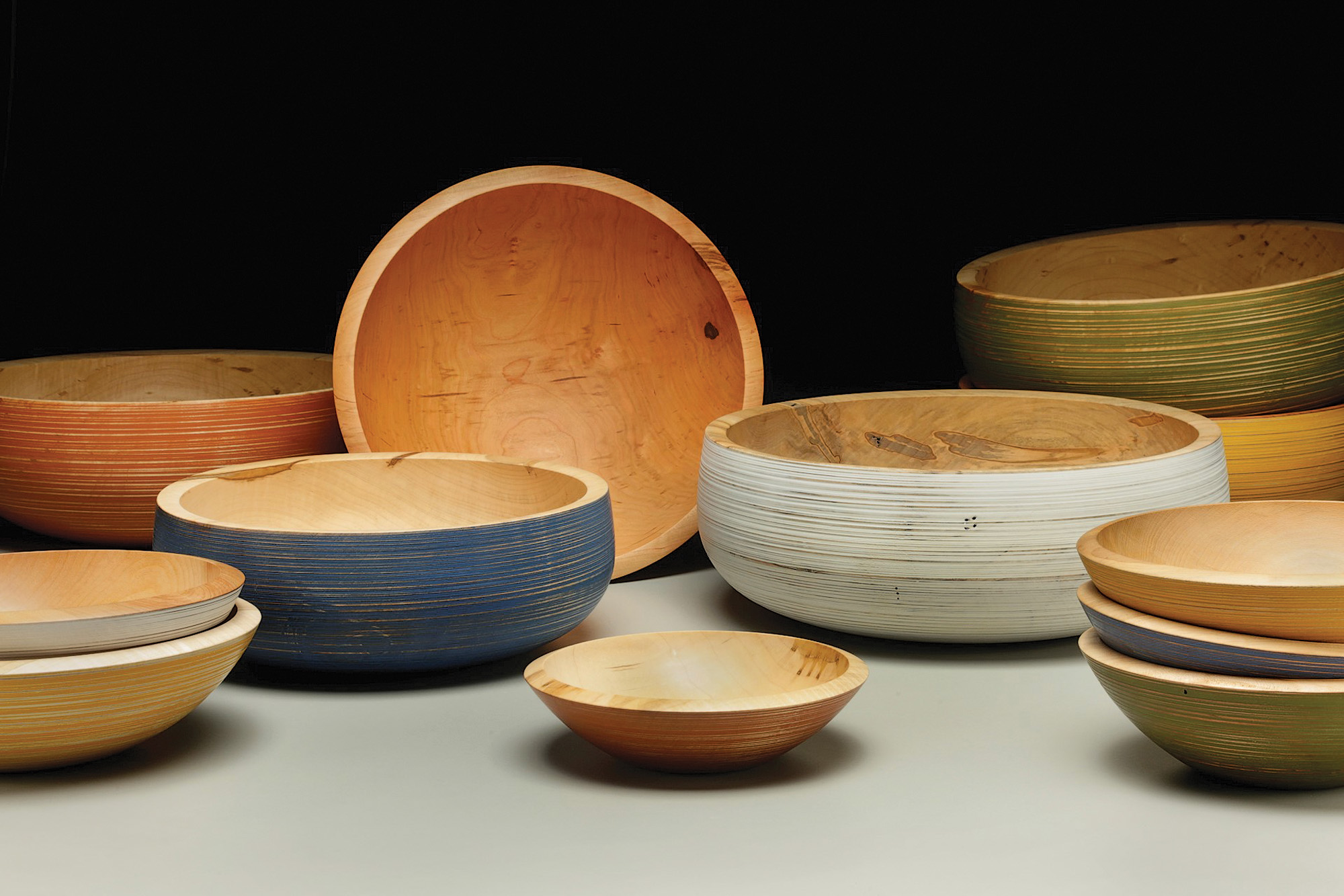 Hand-turned wood bowls are by Mark Gardner, a teacher at  the turning Intensive.