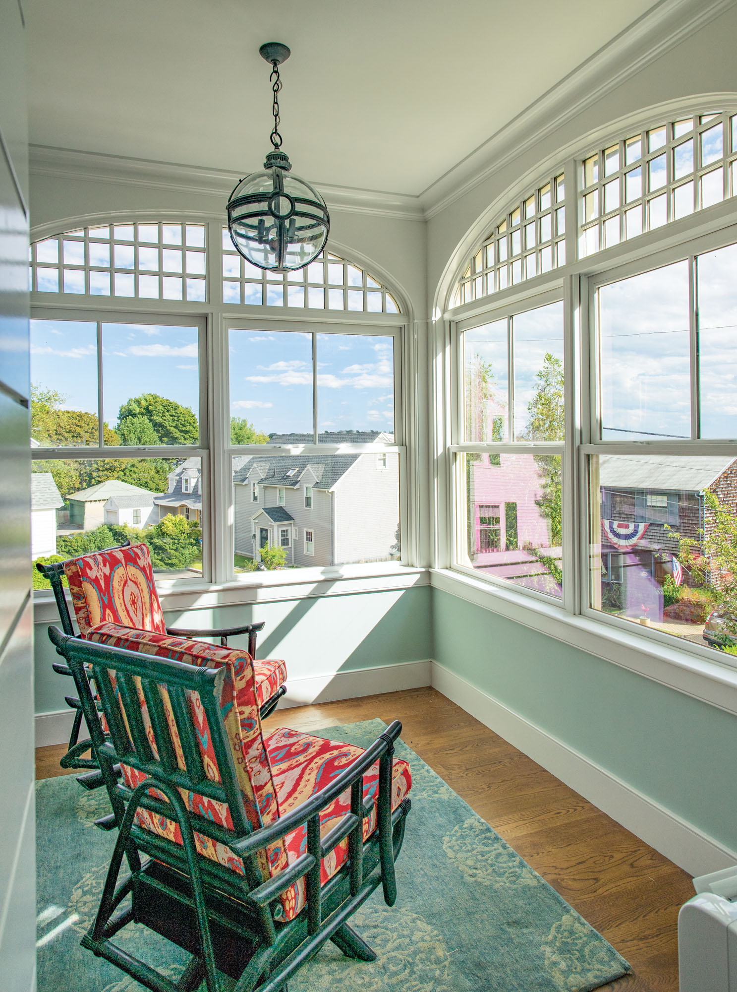 new sunroom with harbor view