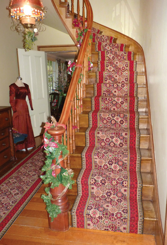 Reproduced Brussels carpet runner at Historic Hanley Farm, which was established in 1857. (Photo: Tina Sharp Reuswaat)