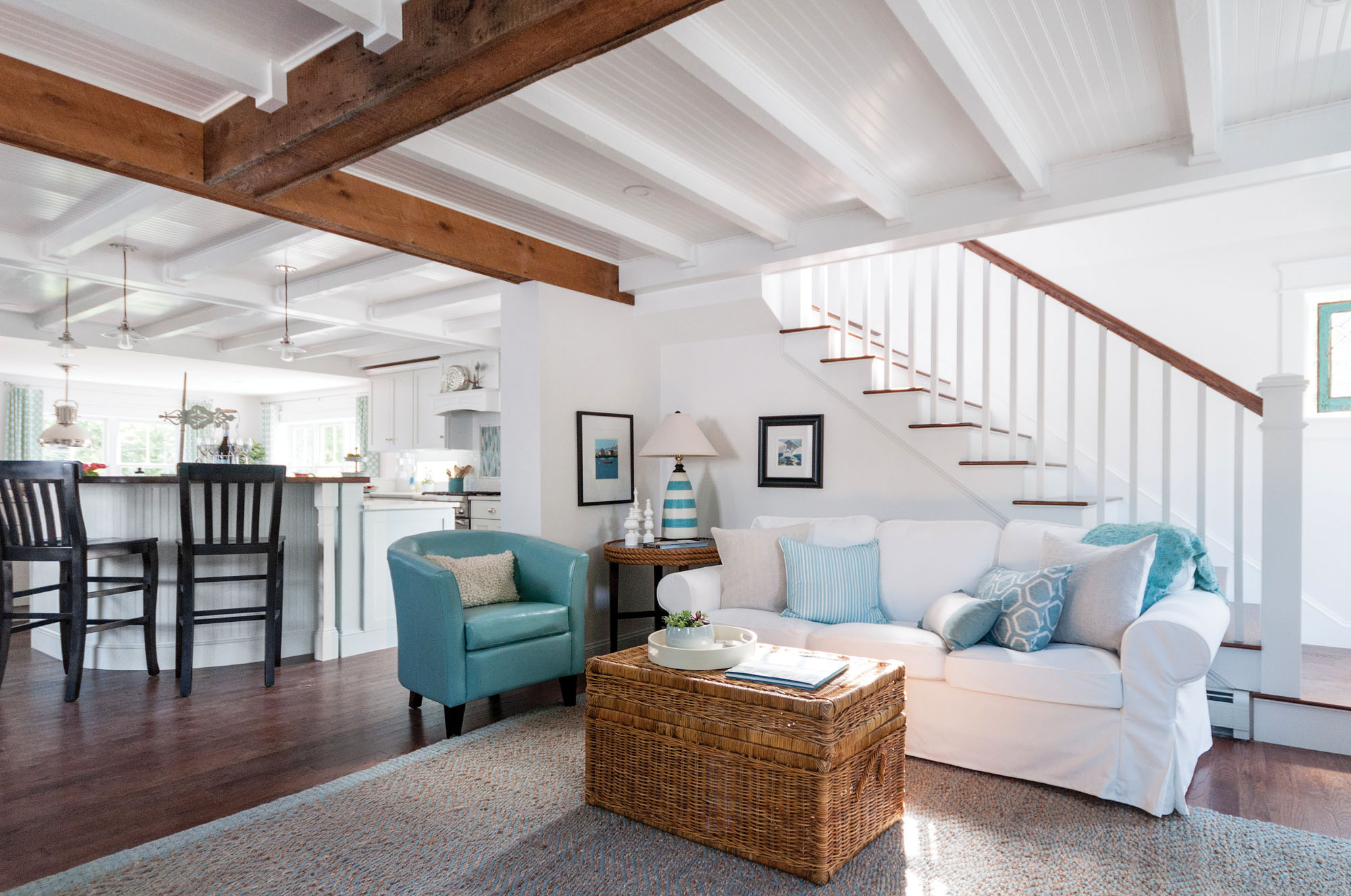 Ceiling beams and exposed joists in living room
