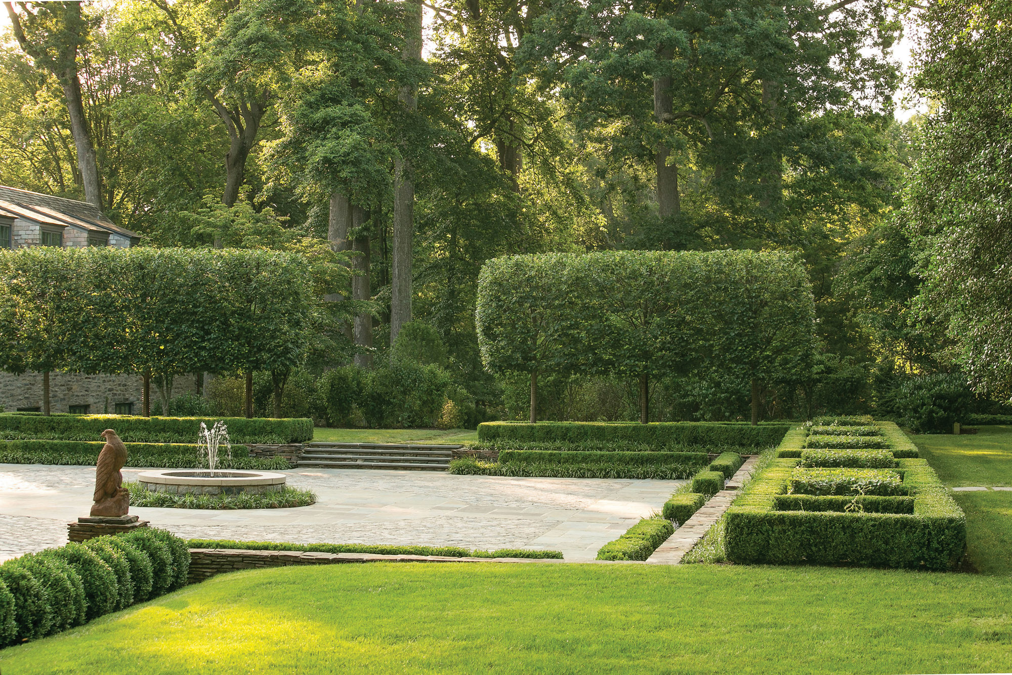 Parterres of boxwood and hornbeam