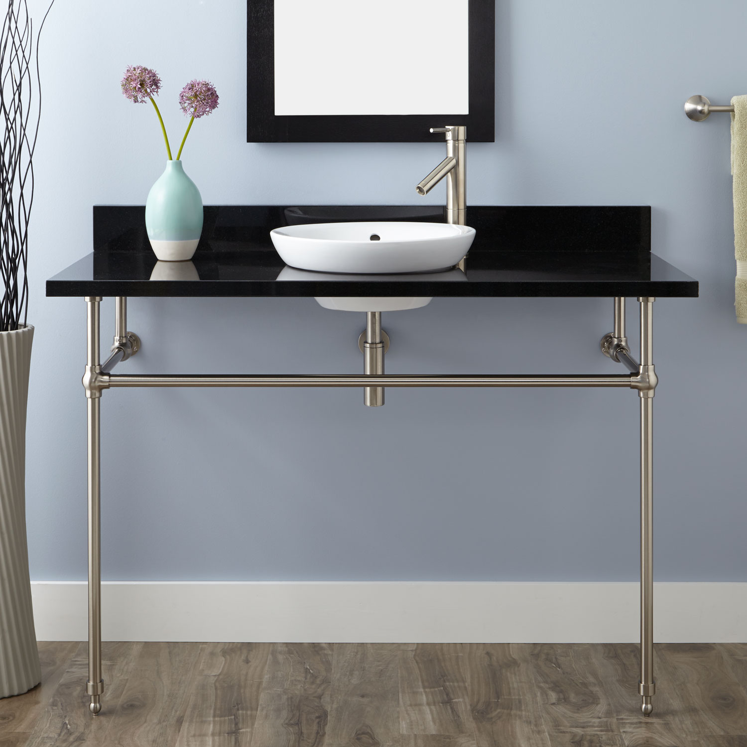 Art Deco console with semi-recessed sink