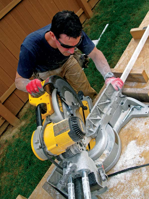 Mark gets to work with his sliding compound miter saw, a tool he relies on for all kinds of finish trim projects.