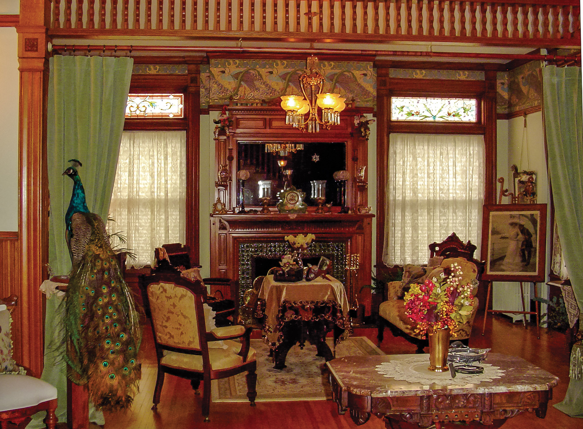 front parlor, peacock theme