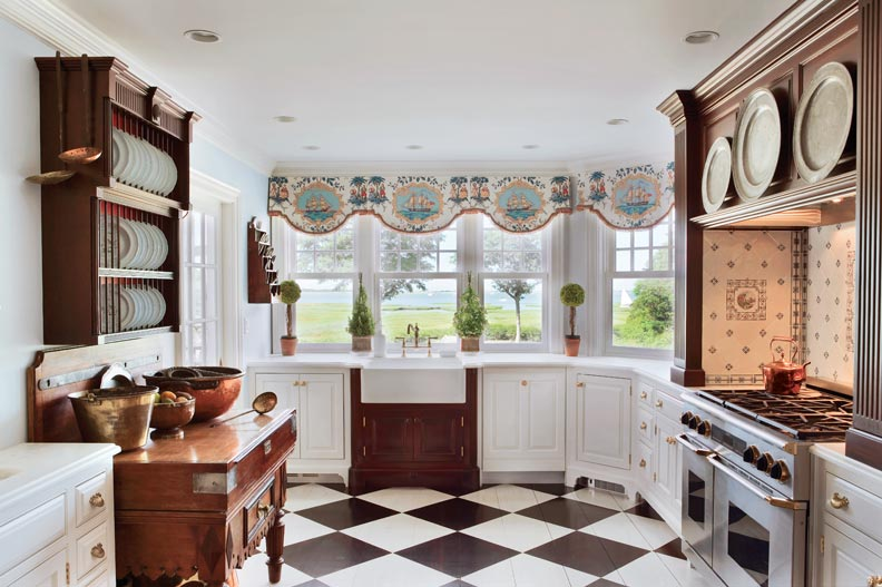 Designer Joan Krainin deftly incorporated antique pieces into her gourmet kitchen.