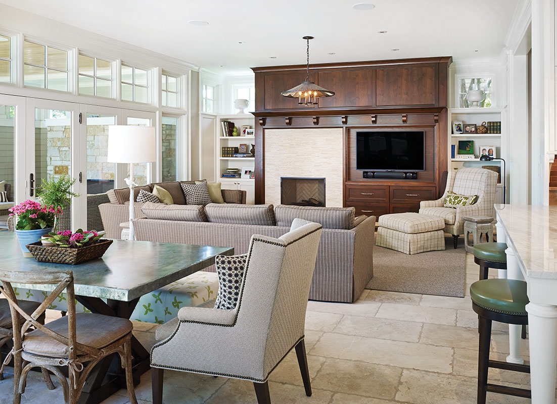 Windows brighten the family room.