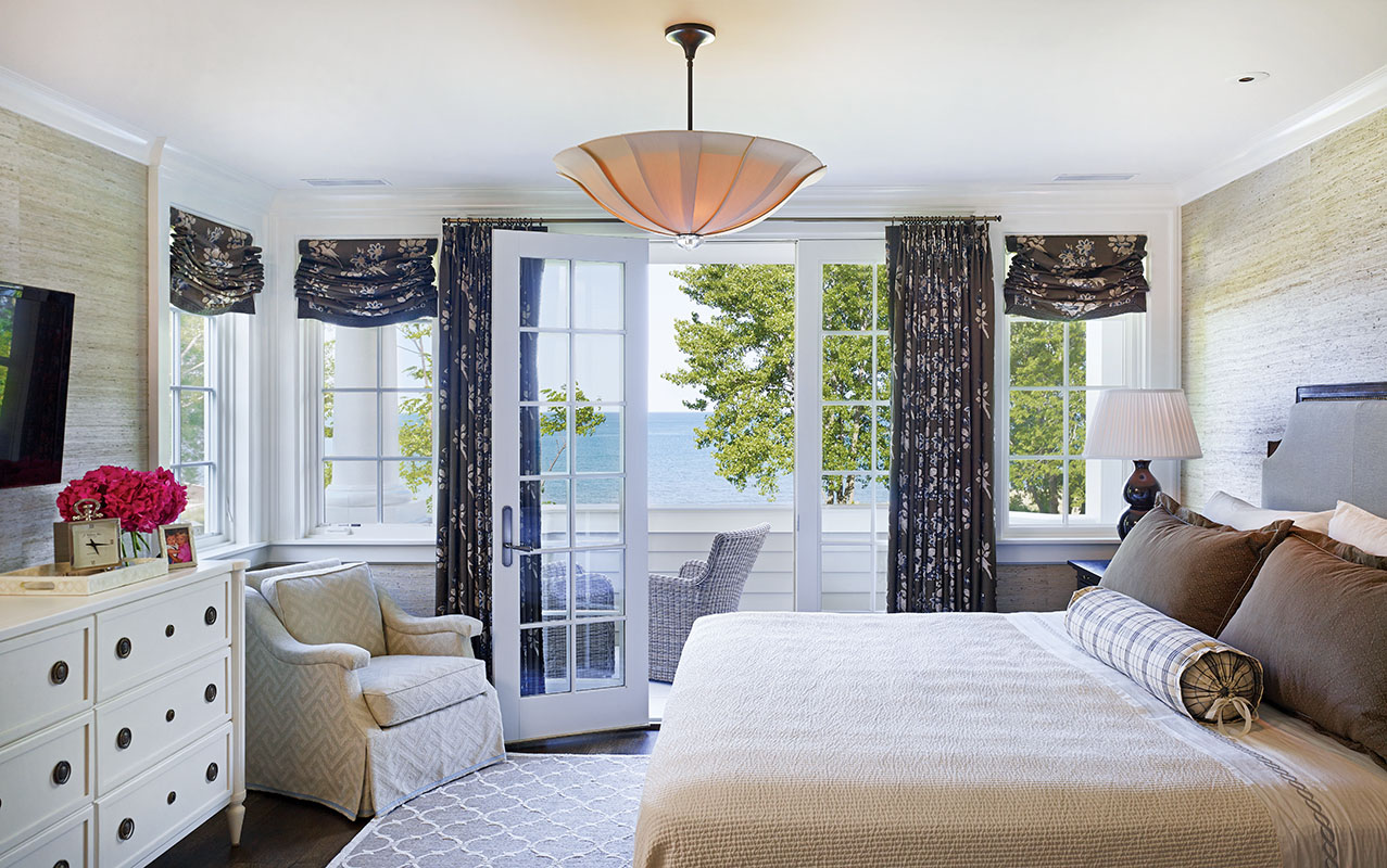 All the main rooms, including the master bedroom and balcony, offer views of Lake Michigan.