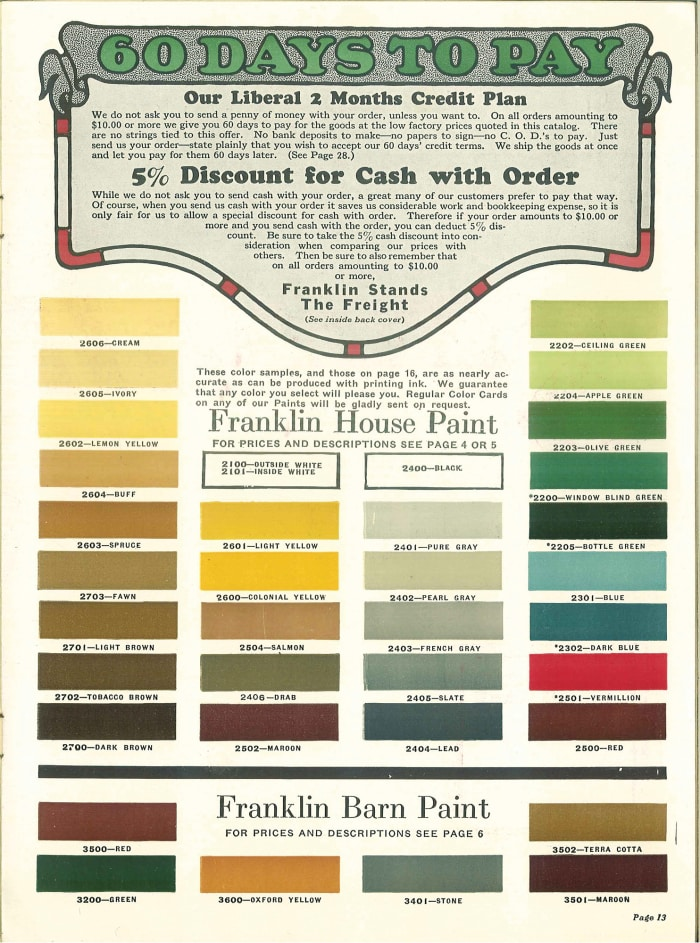 """Paint fresh from the factory,"" catalog, Franklin Paint Co."