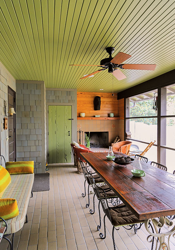 The screened porch is a favorite space.