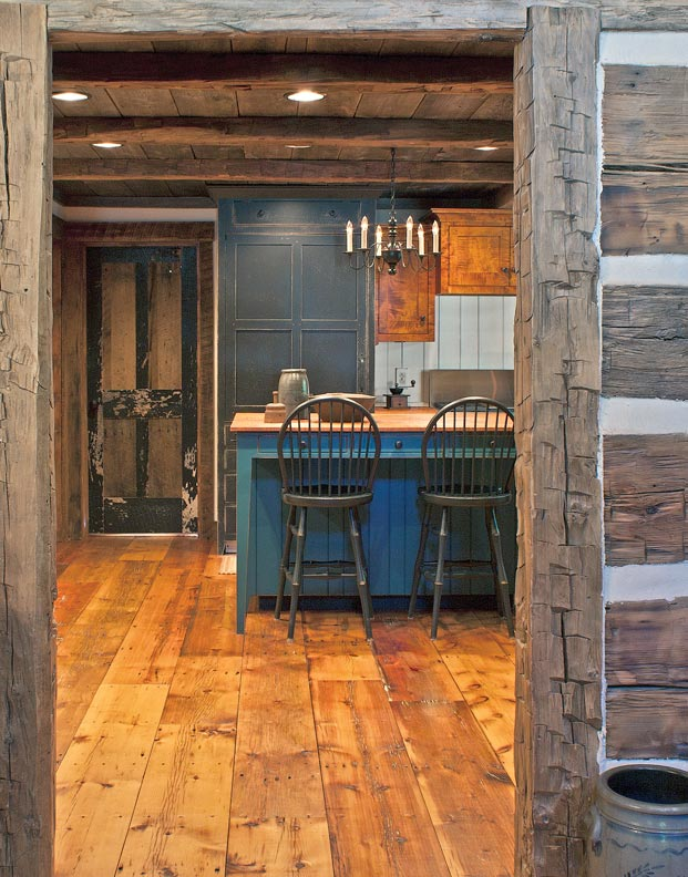 Believe it or not, this is a new vacation home in Kentucky. Construction was with modern materials to meet all codes, but reclaimed materials are used to convey history.