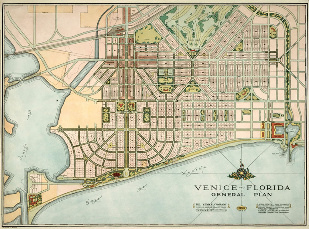 American city planner JOHN NOLEN designed Venice for primary developers, the Brotherhood of Railway Engineers. Streets and avenues are laid out in graceful geometric patterns with regard to the natural landscape and the Gulf of Mexico.