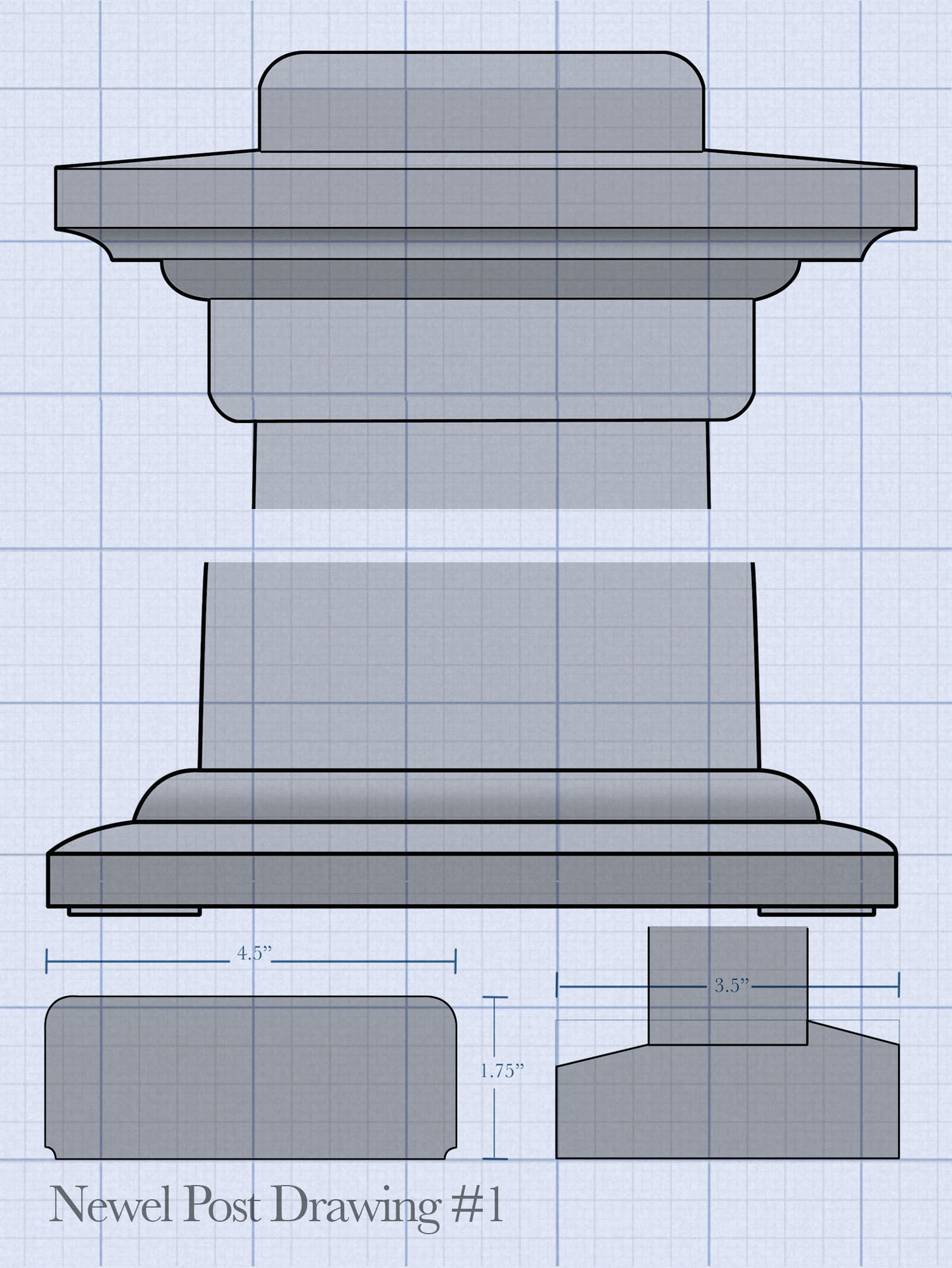 drawing of newel post details